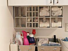 Ordning i tvättstugan med korgar och lådor