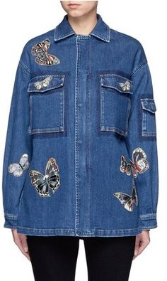 Valentino Embroidered butterfly appliqué denim shirt jacket https://api.shopstyle.com/action/apiVisitRetailer?id=533394554&pid=uid8721-33958689-52
