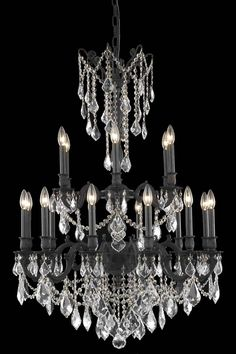 Rosalia 18 Light Crystal (Clear) Chandelier In Dark Bronze Finish  9218D32DB/EC
