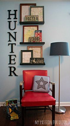 Great corner display for a boy's bedroom.