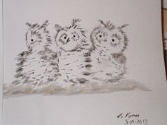 owls, another in black watercolor