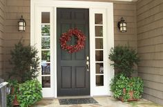 Centered front door with two sidelights and potted plants.