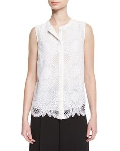 TC7ZF Diane von Furstenberg Lakyn Sleeveless Lace Top