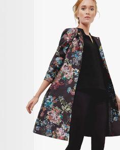 ANTIQUE BOTANICAL A-LINE COAT - Black | Jackets & Coats | Ted Baker