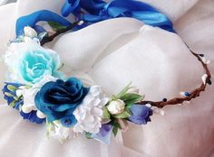 Blue white flower crown Wedding flower crown от Designedecoration