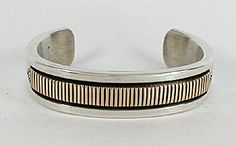 Authentic Native American Navajo Sterling Silver and Gold Bracelet by Bruce Morgan size 7 1/2 and 122 grams !!!