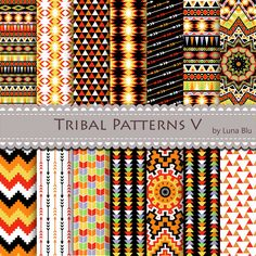 Tribal Digital Paper - Tribal Patterns by Lunabludesign, $4.85 Tribal Patterns, Graphic Patterns, Print Patterns, Aztec Wallpaper, Pattern Wallpaper, Mini Happy Planner, Nativity Crafts, Beading Patterns Free, Aztec Designs