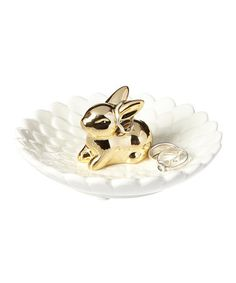 Look what I found on #zulily! Gold Bunny Ring Holder #zulilyfinds