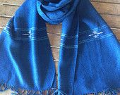 Natural Dye Indigo Blue Cotton Check Scarf from Thailand 100% Hand Woven Scarf Fabric Scarf