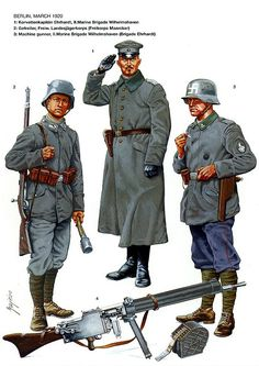 Berlin, March 1920 1. Korvettenkapitän Ehrhardt, II Marine Brigade Wilhelmshaven 2. Gefreiter, Freiw. Landesjagerkorps (Freikorps Maercker) 3. Machine gunner, II.Marine Brigade Wilhelmshaven (Brigade Ehrhardt)