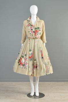 Holly Hoelscher Hand Painted 1950s Silk Chiffon Party Dress | BUSTOWN MODERN