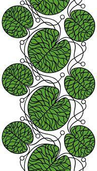 Bottna on Marimekon kaunis, Anna Danielssonin suunnittelema valkoinen puuvillakangas, jossa on kauniita mustia ja vihreitä kuvioita.