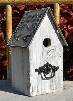 Rustic Birdhouse - Primitive Birdhouse - Recycled License Plates - License Plate…