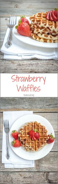 Healthy Gluten Free Waffles with Strawberries, Free from gluten, dairy and refined sugars, prepped and cooked in less than ten minutes! | teabiscuit.org