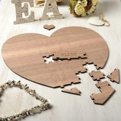 Personalised Wood Heart Wedding Guest Puzzle - guest books