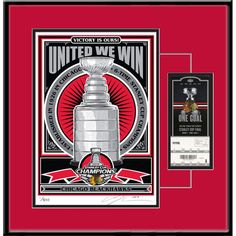 "Chicago Blackhawks 2015 Stanley Cup Champions 24"" x 18"" Sports Propaganda Framed Serigraph"