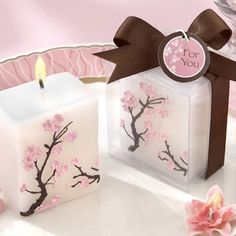 """""""Cherry Blossom Elegance"""" Mini-Pillar Candle Favor 