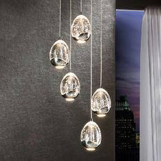 Fünfflammige LED-Hängeleuchte Rocio, chrom