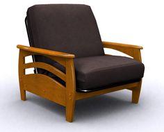 Montego Metal & Wood Futon Chair Bed - Honey Oak