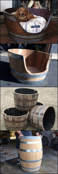 DIY Dog Beds - DIY Wine Barrel Dog Bed - Projects and Ideas for Large, Medium and Small Dogs. Cute and Easy No Sew Crafts for Your Pets. Diy Dog Bed, Diy Bed, Wood Dog Bed, Pet Beds Diy, Doggie Beds, Pallet Dog Beds, End Table Dog Bed, Bed Table, Wine Barrel Dog Bed
