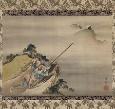 Hokusai, Hunter, edo period, pigment on silk