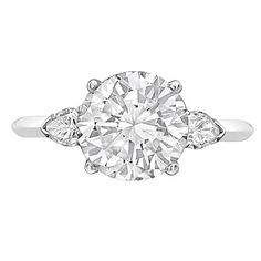 Cartier 3.05 Carat Round Brilliant Diamond Engagement Ring   From a unique collection of vintage engagement rings at https://www.1stdibs.com/jewelry/rings/engagement-rings/
