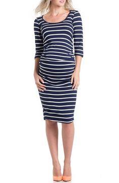 Lilac Striped Maternity Dress