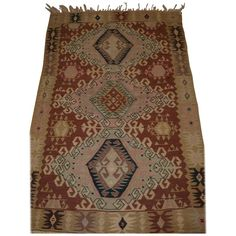 Old Turkish Kayseri Kilim with Attractive Soft Colors and Traditional Design For Sale Modern Rugs, Soft Colors, Traditional Design, Rugs On Carpet, Cool Furniture, Bohemian Rug, Antiques, Vintage, Home Decor