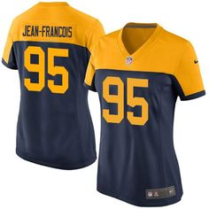 Women's Nike Green Bay Packers #95 Ricky Jean-Francois Limited Navy Blue Alternate NFL Jersey