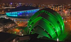 Hydro arena Glasgow at night