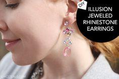 DIY Illusion Jeweled Dangly Earrings Tutorial