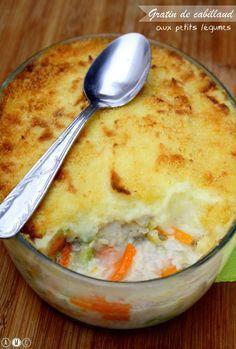 Un gratin complet composé de cabillaud, de légumes et d'une purée de pommes de terre gratinée à la chapelure. Un plat peu calorique car il s'agit d'une recette du Docteur Dukan.
