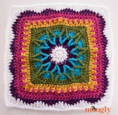Moogly Afghan CAL Block / Free pattern by Trifles N Treasures! / very pretty! Crochet Squares Afghan, Crochet Blocks, Granny Square Crochet Pattern, Crochet Stitches Patterns, Crochet Granny, Crochet Motif, Crochet Yarn, Stitch Patterns, Free Crochet