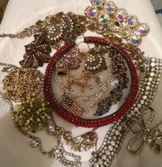 Vintage-Now Junk Jewelry 1 Lb ALL Rhinestones & Crystals Craft Parts Repair Lot  | eBay