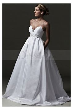 Satin Wedding Dress in Ball Gown Style with Spaghetti Straps and Beaded Sash