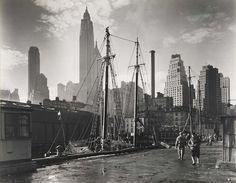 cordisre:    Fulton Street Dock, Manhattan Skyline, from the series Changing New York (1935)   Berenice Abbot
