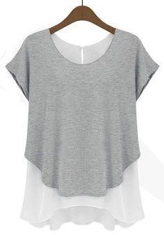 Love the Layers and the Irregular Hem! Grey Plain False 2-in-1 Short Sleeve Chiffon T-Shirt