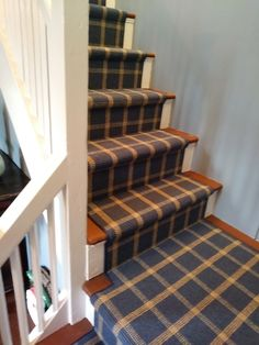 Modern Plaid Carpet Stair Runner In Shades Of Blue And Gold Dresses Up This Simple Stairway