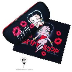 Betty Boop Kisses Hard Eyeglass Case & Cleaning Cloth - Also Batman, Beatles, Elvis Presley, Marilyn Monroe #bettyboop