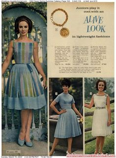 1962 Sears Spring Summer Catalog, Page 100 - Christmas Catalogs & Holiday Wishbooks Fashion Now, Retro Fashion, Vintage Fashion, Vintage Style, Vintage Items, Vintage Skirt, Vintage Dresses, Vintage Outfits, 60s Dresses