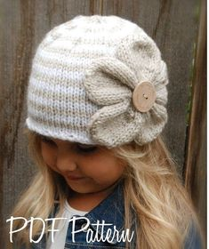 Knitting PATTERN-The Riyan Cloche' (Toddler, Child, Adult sizes) - Crochet & Knitting Instant Download Patterns for Baby and Audlt