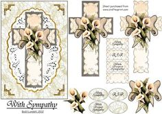 With Sympathy on Craftsuprint designed by Bodil Lundahl - A beautiful vintage cross with white flowers on an oval, gold framed doily. The sheet fits an A5 card, but you can resize it to a smaller size, might you want so. - Now available for download!