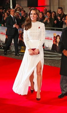 Kate Middleton's Dress Looks Like a Modest Wedding Gown, Until She Flashes That Leg Slit