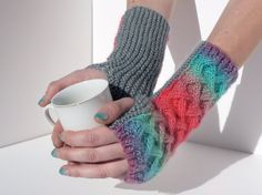 Hand Warmers in Parrotfish Design, hand knit and cabled fingerless gloves https://www.etsy.com/listing/155216737/hand-warmers-in-parrotfish-design-hand?ref=teams_post