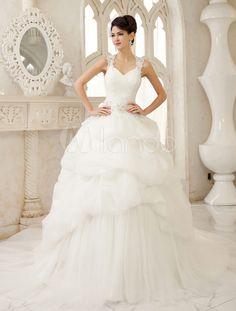 Ivory Ball Gown Keyhole Neck Sequin Chapel Train Wedding Dress - Milanoo.com
