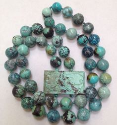 Antique-Chinese-Genuine-Natural-Turquoise-Pendant-Bead-Necklace