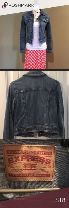 Express Jean Jacket Size Small Express Jean Jacket.  The Jacket has been loved very much.  It is still in great condition, but there is some wear on the elbows.  See pictures. Express Jackets & Coats Jean Jackets