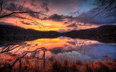 Fire Sunset Reflection HD Wallpaper