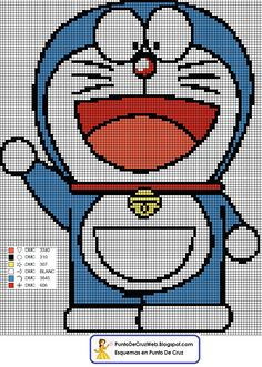 Doraemon Punto De Cruz www.puntodecruzweb.blogspot.com Cross Stitching, Cross Stitch Embroidery, Cross Stitch Patterns, Alpha Patterns, Line Patterns, Doraemon, Hama Beads Patterns, Beading Patterns, Kids Nightwear
