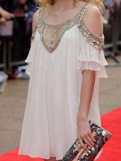 Charming Beading Decorated Slash Collar Chiffon Women's Summer Top